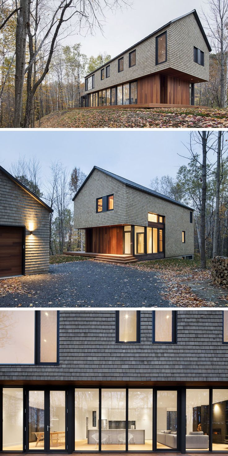 13 Examples Of Modern Houses With Wooden Shingles // Cedar shingle siding feels perfect for a home in a forest in Quebec.