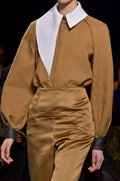 Eye for detail | Aganovich camel textured shirt with asymmetrical collar | silk high waisted trousers