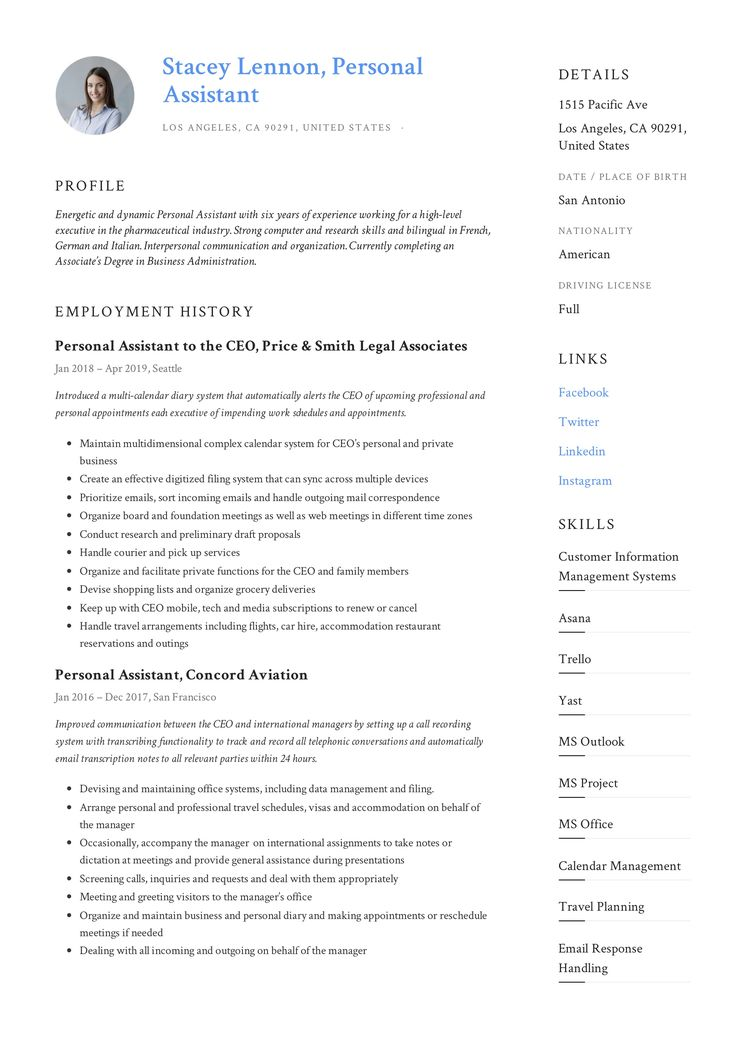Personal Assistant Resume & Writing Guide in 2020 Resume