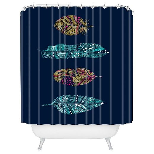 """Stephanie Corfee Corfee Doodle Feather Collection in Navy Shower Curtain by DENY Designs (71""""x74"""") : Target"""