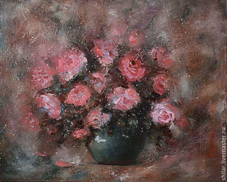 """Купить """" Коралловые розы"""" картина маслом - коралловый, коричневый, розы, горшок, розы в вазе"""