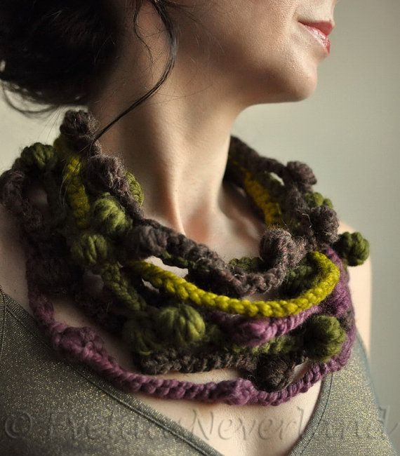 We Can Get Wild - freeform crocheted fiber necklace in brown, olive, purple, lemongrass shades - eco style by EveldasNeverland, $66.00