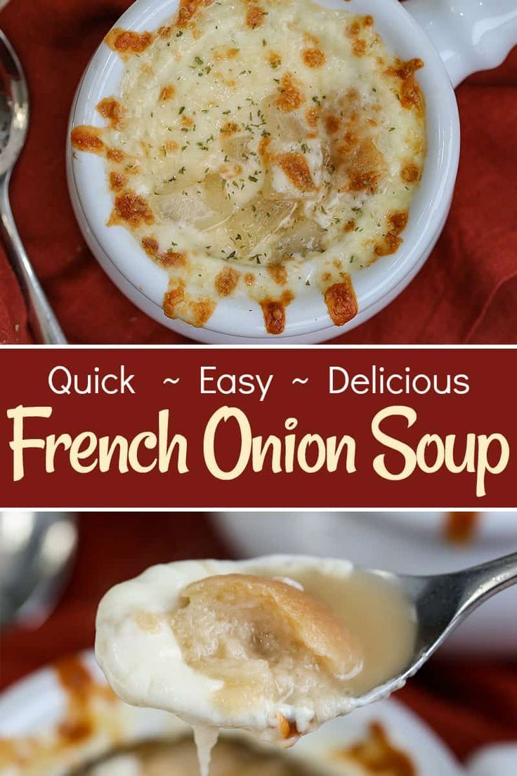 This Easy French Onion Soup Recipe Is The Perfect Saltiness And Spice Gooey Chee French Onion Soup Easy French Onion Soup Recipe Easy French Onion Soup Recipe