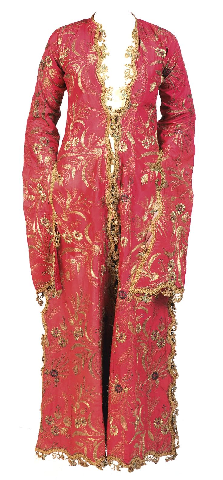 Turkey, Ottoman embroidered lady's robe (entari), the pink silk robe embroidered in gilt-metal threads and sequins with floral sprays, trimmed with an ornate gilt-metal braid, 18th century