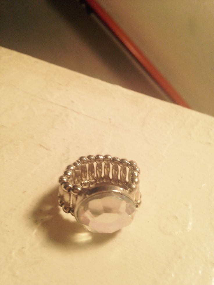 Made this clear rhinestone ring. Band and stone bought @ Hobby Lobby.
