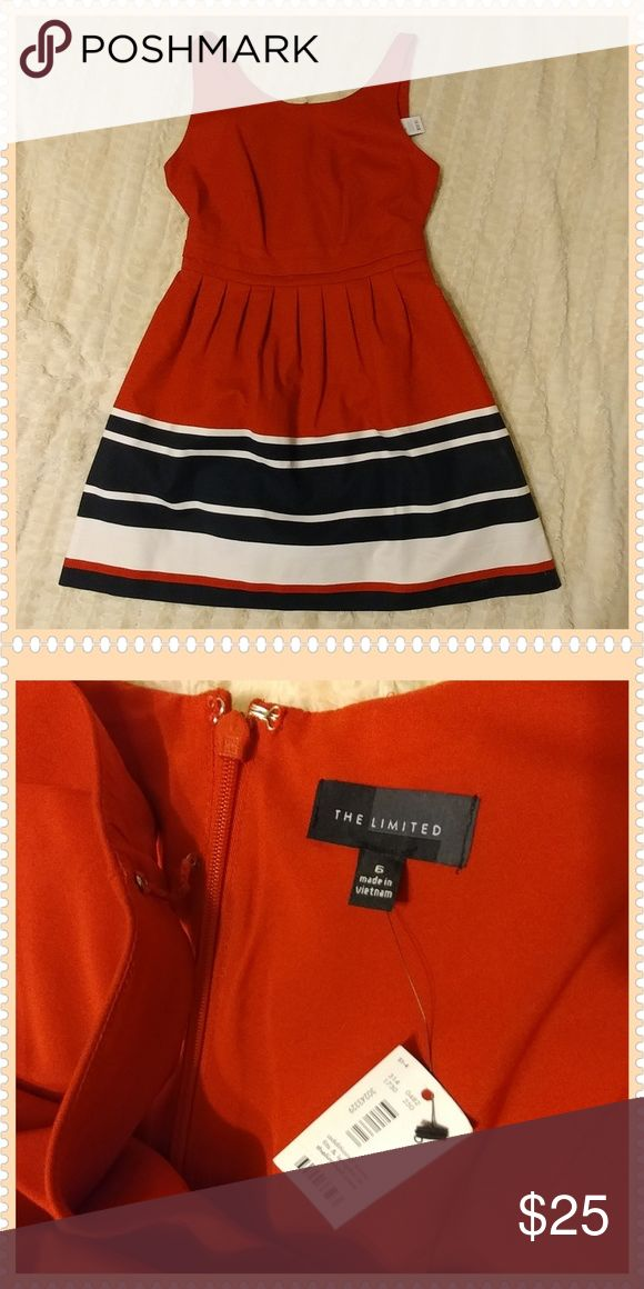 NWT The Limited Red Dress with Navy and White This cute red dress with navy and white stripes around bottom, also has built in bra holder in shoulder straps.  Inner lining of dress is red and 100% polyster and out shell of the dress is 97% cotton and 3% spandex for slight give. Machine washable. The Limited Dresses