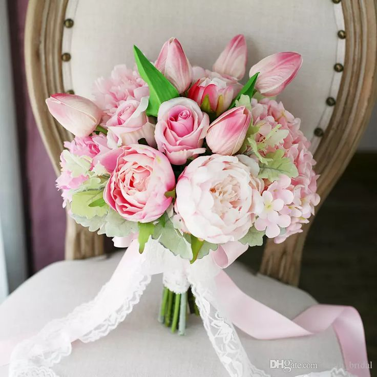 Exquisite Light Pink Wedding Bridal Bouquets Hydrangea Peony Moisturizing Feel Tulips Country Beach Supplies Bride Holding