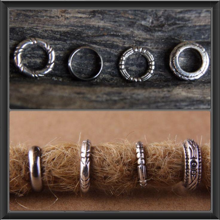 12 (7/8mm / 0.28/0.30 in) Dread Rings Mix DREADLOCK BEAD Hair Tibetan /Stainless Steel