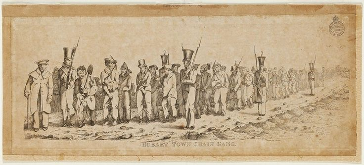 G. Bruce, Hobart Town Chain Gang. Ca. 1831. Copper engraving. From the collections of the State Library of New South Wales: http://acmssearch.sl.nsw.gov.au/search/itemDetailPaged.cgi?itemID=66087