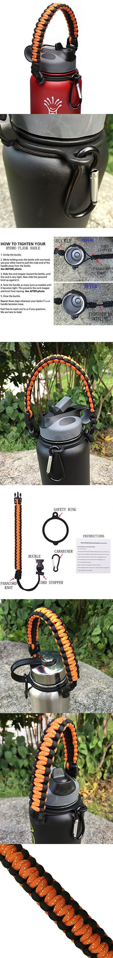Hydro Flask Handle - Paracord Survival Strap with Security Ring for Wide Mouth Water Bottles Carrier (Orange/Black)