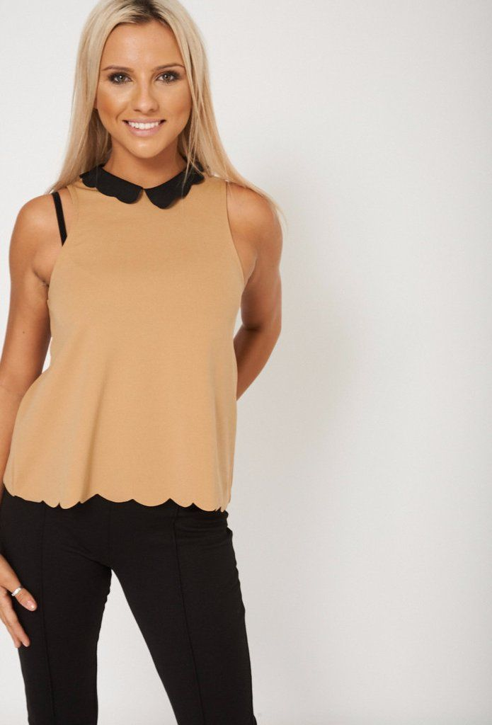 Scalloped Collar And Hemline Top