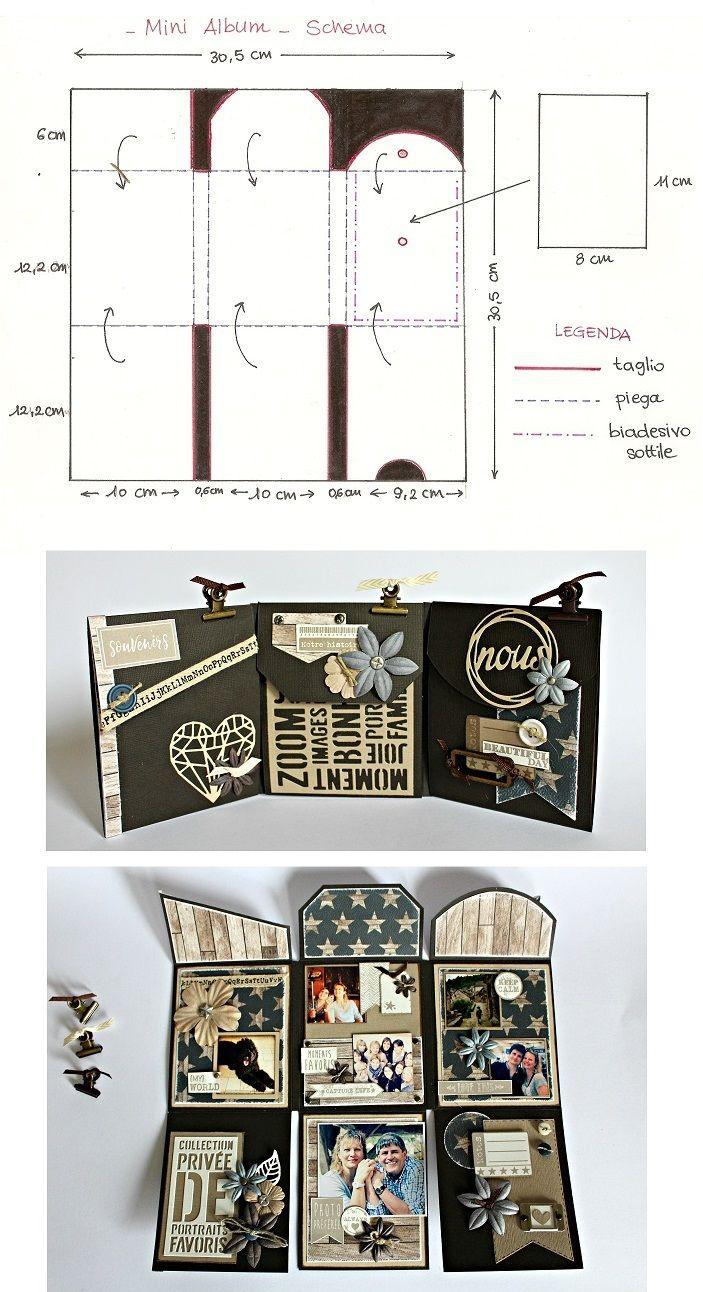 Mini album à déployer découpé dans une feuille 30 x 30 cm - tutoriel