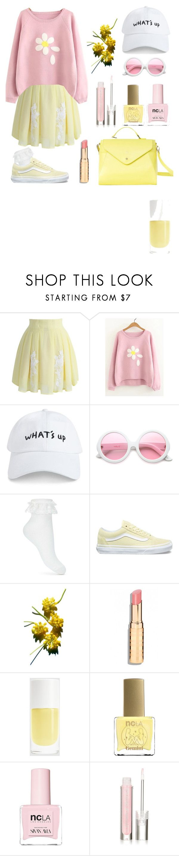 """yellow//pink"" by meowntown ❤ liked on Polyvore featuring Chicwish, 21 Men, ZeroUV, Miss Selfridge, Vans, ncLA, Physicians Formula and Paperthinks"