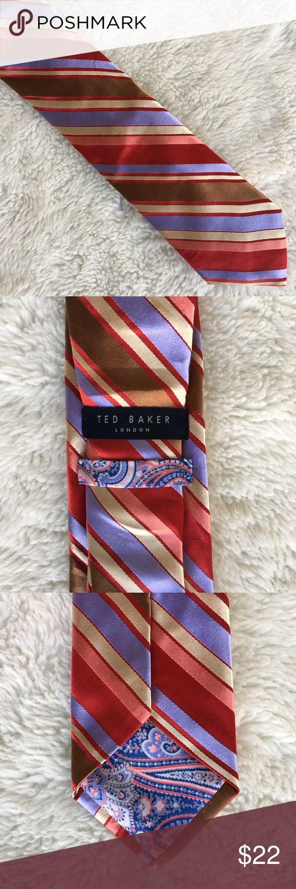 Ted Baker Men's Striped Multicolor Silk Tie Pre-owned authentic Ted Baker Men's Striped Multicolor Silk Tie. Please look at pictures for better reference. Happy Shopping! Ted Baker Accessories Ties