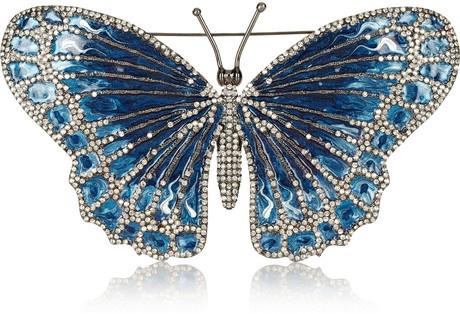Valentino Blue Rhodiumplated Swarovski Crystal Butterfly Brooch