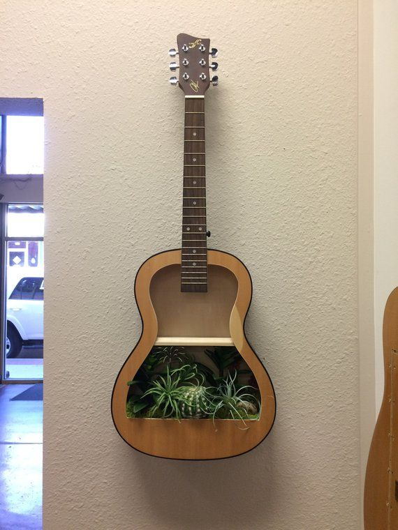 Guitar Shelf 116 Recycled Acoustic Guitar With Artificial Etsy Guitar Shelf Home Decor Guitar