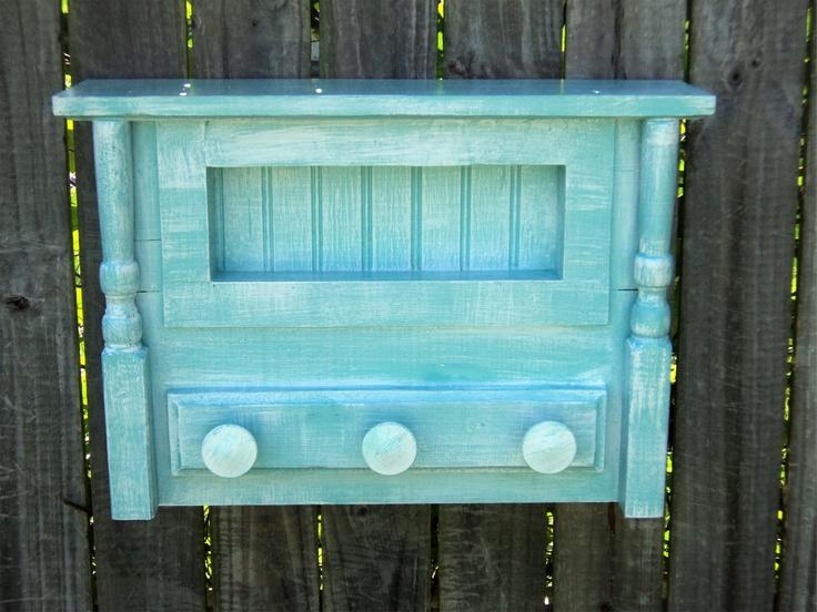 Beach-y Bathroom Shelf, Towel Hanger, Cottage Kitchen Spice Rack And Display, Coastal Living Decor, Coat Rack. $65.00, via Etsy.