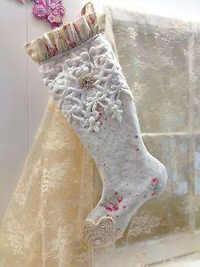 Christmas Shabby Stocking linen