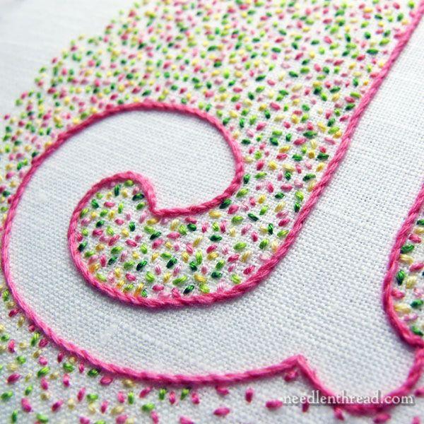 Confetti Monogram with seed stitch More