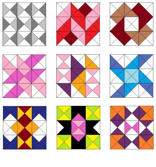Stripe and pinwheel quilt blocks