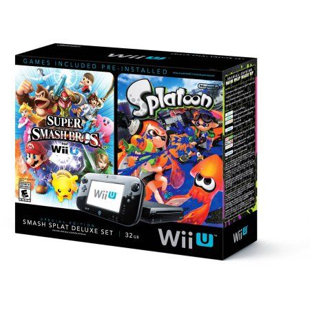 Nintendo Wii U Splatoon and Super Smash Bros Console Deluxe Set  Prices usually go down as it gets closer to christmas... he wants black wii u...and they're usually bundled with a game. More bang for your buck.