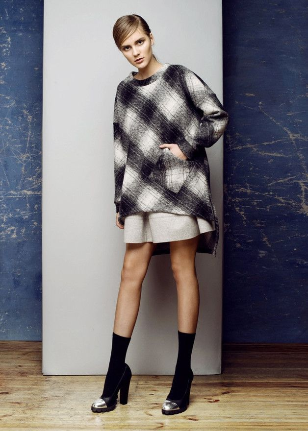 Asymetryczny sweter krata - LCLUCJA - Swetry i bezrękawniki