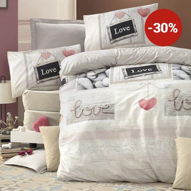 Lenjerie de pat din bumbac Valentini Bianco VKR10 Romantique