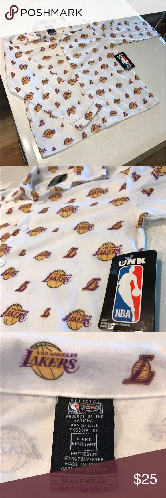 NWT Woman's or Kids Lakers Shirt New With Tags Official NBA Gear Lakers Shirt. Very soft material. No stains or tears, brand new. NBA Tops Button Down Shirts