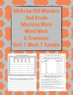 McGraw Hill Wonders 2nd Grade Morning Work and Grammar U1W1 FREE