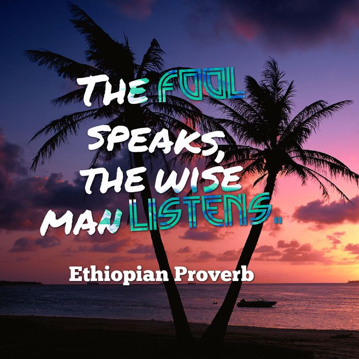 The fool speaks, the wise man listens | Proverbs