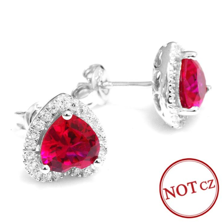 Hot Sale 4ct Pigeon Blood Ruby Earrings Heart Stud Jewelry  Only $29.9 => Save up to 60% and Free Shipping => Order Now!   #Bracelets #Mystic Topaz #Earrings #Clip Earrings #Emerald #Necklaces #Rings #Stud Earrings
