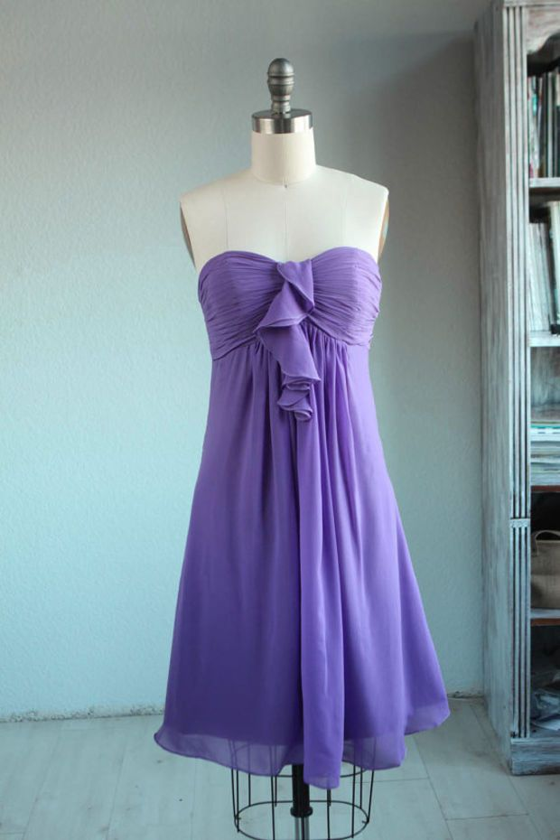 Wedding dress , gray chiffon party dress, bridesmaid dress, formal dress/strapless dress in purple (B047)