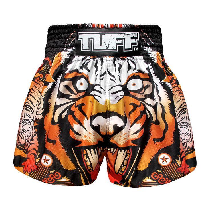 Q Tiger Thai Boxing Shorts Kids MMA Grappling Shorts Gym Muay Thai Training Kick #TuffSport
