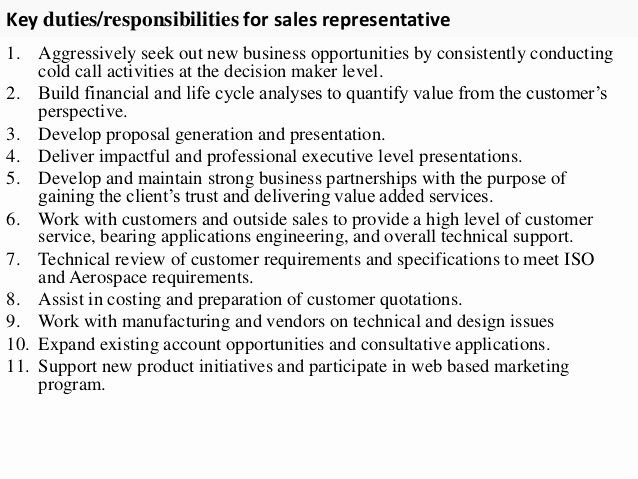 Sales Representative Resume Description Elegant Sales