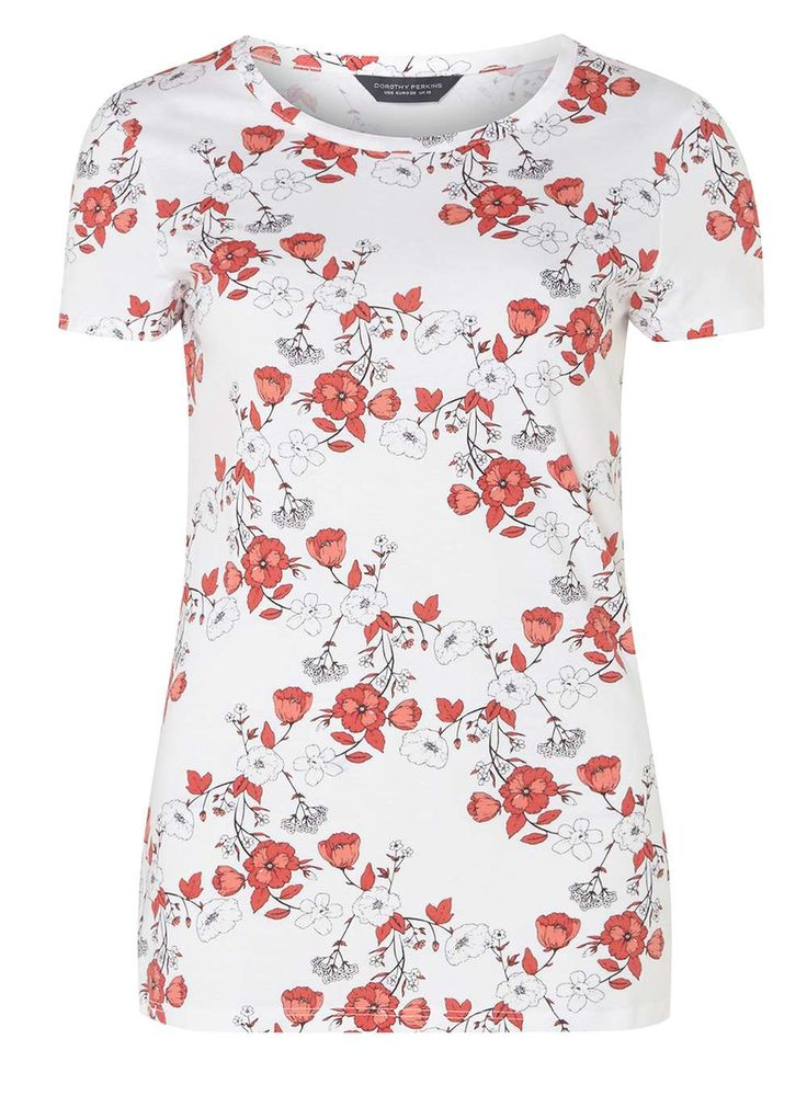 Womens **Tall White Floral T-Shirt- Pink