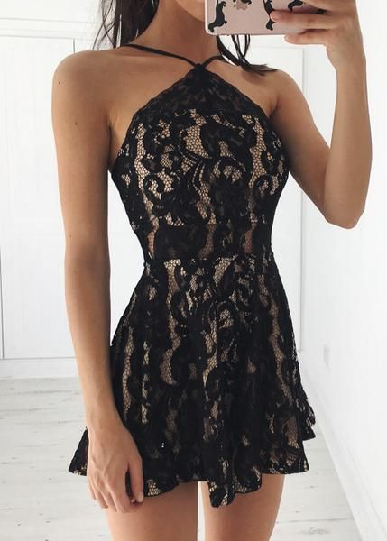 LACE HALTER PLAYSUIT - BLACKS