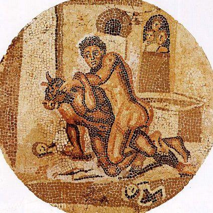 Teseo y el Minotauro, mosaico Museo Archeologico Nazionale di Napoli, Napoles, Italia.