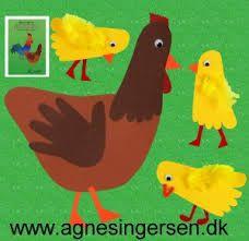 Høne og kyllinger af fod og hånd