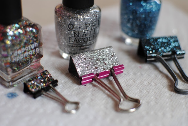 Sequins and Pearls: DIY: Glittery Binder Clips! Great way to use up old nail polish. Rainbow?!