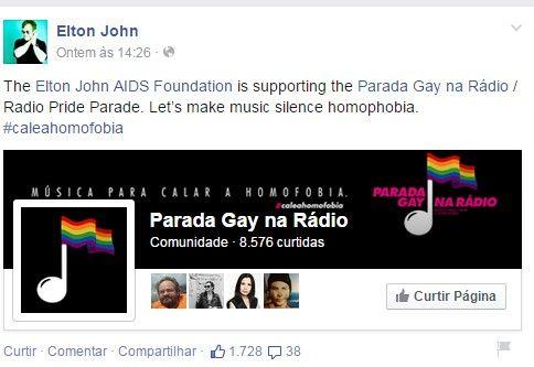 Elton John apoia o Dia Nacional do Orgulho Gay no Brasil (Foto: Reprodução Facebook) - http://epoca.globo.com/colunas-e-blogs/bruno-astuto/noticia/2015/03/belton-johnb-apoia-o-dia-nacional-do-orgulho-gay-no-brasil.html