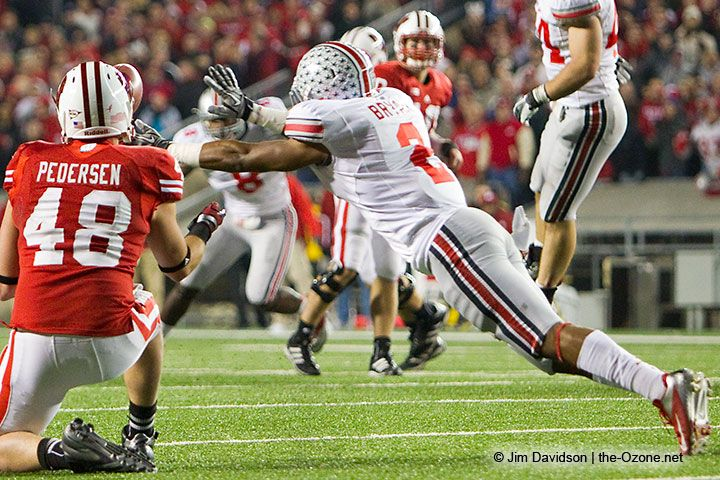 Christian Bryant knocks the ball away from the intended Wisconsin receiver, giving the Buckeyes the win in overtime. Photo by Jim Davidson of TheOzone.net.