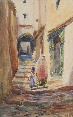 Edouard Herzig, peintre d'origine suisse (Neuchâtel 1860 / Alger 1926) « Femmes à Alger »