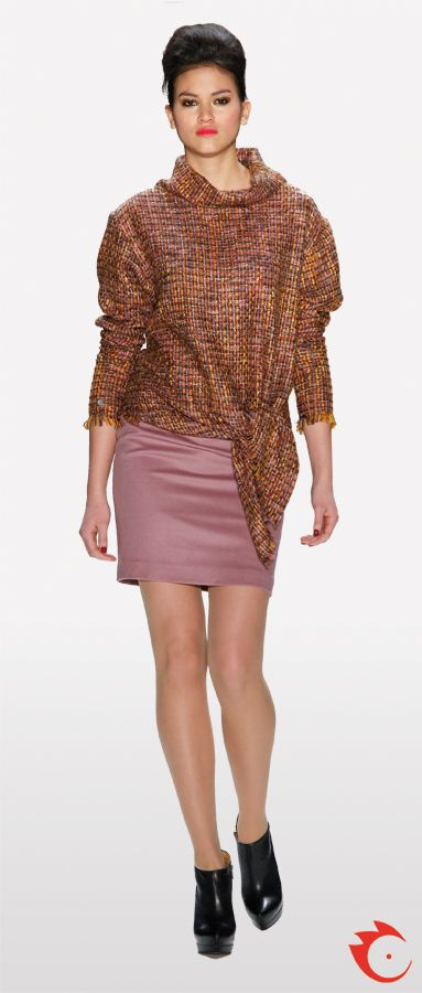 anja gockel orange rosy knotted tweed jacket in combination with a rosy pencil skirt
