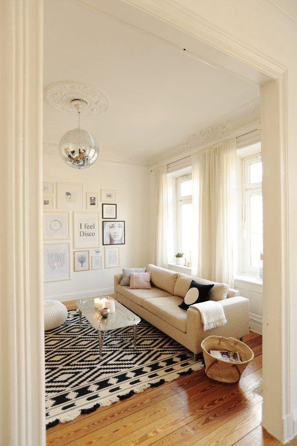 Whites, Black-white rug on wood floor