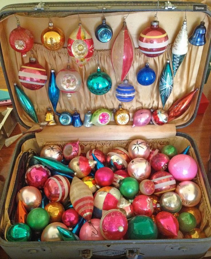 Vintage Christmas Ornaments Suitcase Display