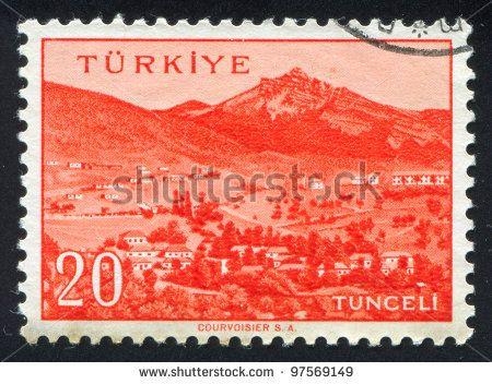 TURKEY - CIRCA 1959: stamp printed by Turkey, shows Turkish city, Tunceli, circa 1959. - stock photo