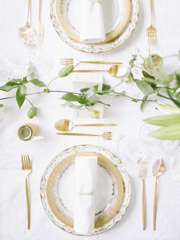 Gold-accented vintage china and cutlery for an afternoon tea wedding party // Afternoon Tea at Downton Abbey: A Styled Wedding Shoot {Facebook and Instagram: The Wedding Scoop}