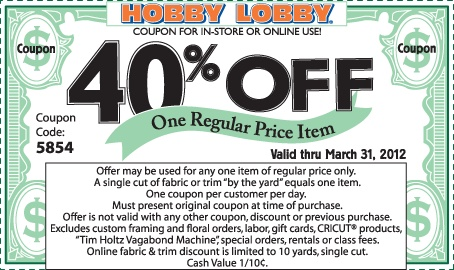 HOBBY LOBBY WEEKLY COUPON - Save by using the button below to apply a 40% discount to the highest regular priced item in your shopping cart. This offer is valid for 1 order, per day, per customer.  OR    Choose the Print Coupon button and visit any of our store locations and enjoy the full Hobby Lobby shopping experience.  You may use this code all week for regular priced items. Some exclusions apply.