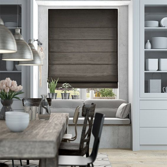Dupioni Faux Silk Shimmering Grey Roman Blind from Blinds 2go