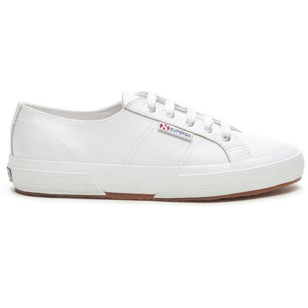 Superga 2750 Leather Leather Sneaker (€87) ❤ liked on Polyvore featuring shoes, sneakers, white, white leather trainers, superga, white leather shoes, leather footwear and superga sneakers
